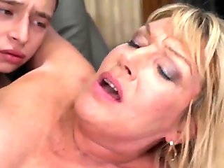 Busty granny fucked and creamed by much younger lover