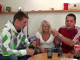 very old hairy busty blonde granny swallows two cocks