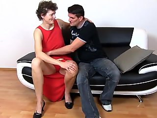 Granny Erma a nephew who came to visit her and a black dildo