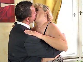 Blonde dirty granny sucks cock for cum
