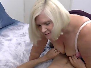 Chubby british grandma gobbles dick