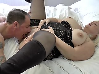 Shlong sucking granny gets pussy eaten